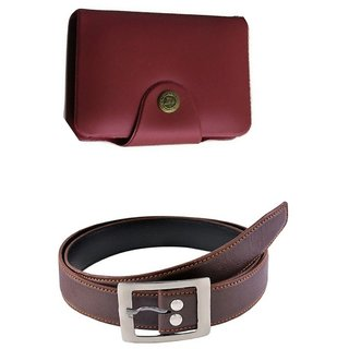 d mall combo of 2  formal casual  red card holder &  belt for men 76 (Synthetic leather/Rexine)