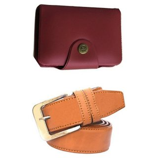 d mall combo of 2  formal casual  red card holder &  belt for men 116 (Synthetic leather/Rexine)