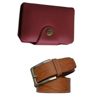d mall combo of 2  formal casual  red card holder &  belt for men 130 (Synthetic leather/Rexine)