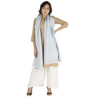 Sky Blue Plain Weave Angora Wool Stole