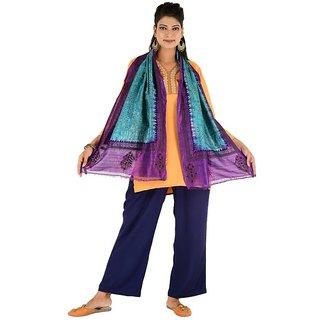 Sky Blue & Purple Silk Tie Dye Stole