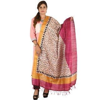 Multicolor Dupian Ghicha Tussar Silk Dupatta