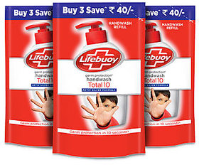Lifebuoy Daily Care Total 10 Hand Wash Refill Pouch ( 3 X 185 Ml )