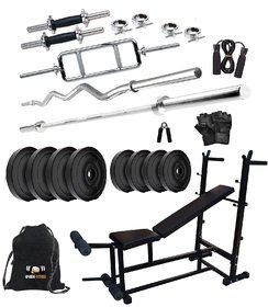 Sporto Fitness PVC 50 Kg Home Gym Set with One 3 Ft Curl+ One 5 Ft Plain Rod and One Pair Dumbbell Rods Comes with 6 in1