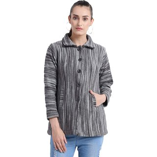 Matelco Womens Woollen printed Design Coat Style Cardigan-Grey