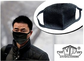Anti Pollution Washable Reusable Protection Black Mask (Assorted Design) - Flumask Pack of 8Pcs