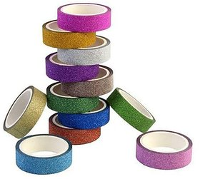 ARTSTREET Colourful Decorative Adhesive Glitter Tape (3M Assorted Color 30 Pieces) for Art Craft Purpose.