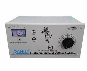 Rahul C-3000 a3 Kva/12 Amp 90-260 Volt, Manual 8 Booster Mainline Autocut Voltage Stabilizer