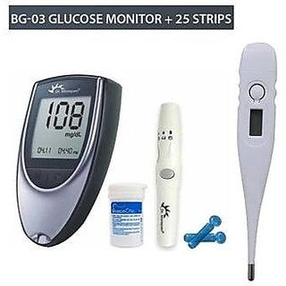 Dr Morepen Glucose Monitor BG-03 with 25 Sugar Test Strips  Thermometer