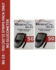Dr. Morepen 100 Sugar Test Strips for BG-03 Glucometer  ( Strips Pack only) (No Meter)