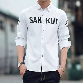 Sankui White Regular Fit Shirt For Men