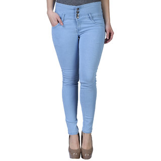 Hootry Women's Slim Fit Light Blue Jeans