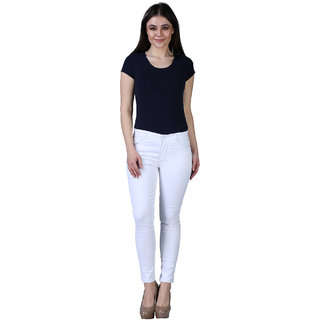 Hootry Women's Skinny Fit High Waist White Jeans