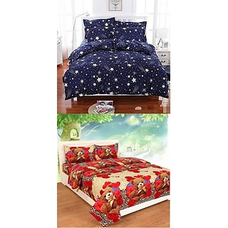 Shakrin 160 Tc Polycotton Double 3D Printed Bedsheet (Pack Of 2, Red)