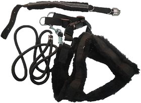 PETHUB INDIA HIGH QUALITY COMBO DOG  PRINT HARNESS(Chest 22-25)  SET W ROPE  -S-BLK