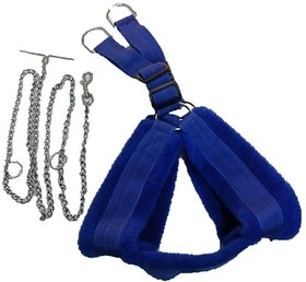PETHUB INDIA HIGH QUALITY FAR HARNESS BLUE  WITH CHAIN- (chest -33-42)LARGE DOG