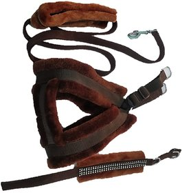 PETHUB INDIA HIGH QUALITY COMBO FAR HARNESS -BROWN-SMALL(chest -22-25) DOG