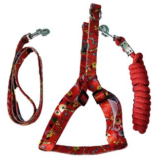 PETHUB INDIA HIGH QUALITY COMBO DOG  PRINT HARNESS WO PAD WITH  ROPE -XS-RED-PUPPY DOGS
