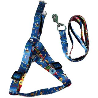 PETHUB INDIA HIGH QUALITY  PRINT HARNESS SET WITHOUT PAD  FOR DOG-XS-PUPPY-BLUE