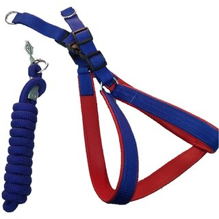 PETHUB INDIA QUALITY PRINT HARNESS BLU WITH ROPE -SMALL DOG