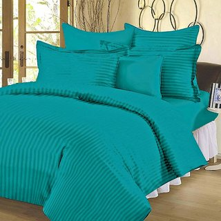 SIE STORE 300 TC 100 Cotton King Size Satin Striped Double Bedsheet with 2 Pillow Cover