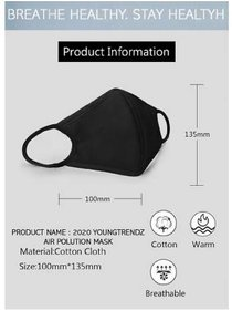 Black Mask For Protection From Dust Viruses And Pollution Breathable Good Q