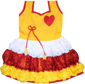 Flora's Self Design Cotton Dresses For Girls