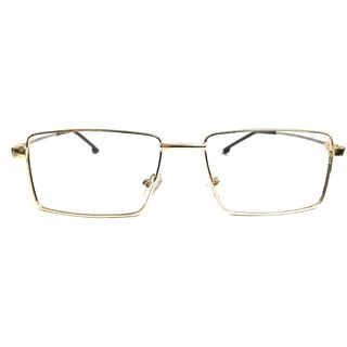 Amar Lifestyle Reading Glasses +2.25 Single Vision golden metal rectangle unisex  _sh7a2il1869