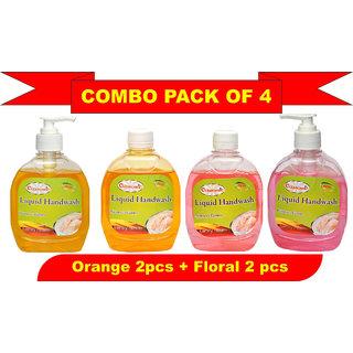 Liquid Hand Wash 300ml Pack of 4 of Floral 2pcs + Orange 2 pcs