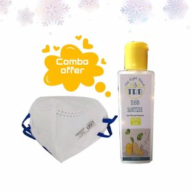 (COMBO)  Air+ N95 Anti Pollution Face Mask/ ISI Verified (Pack of 1) + 100 ml Hand Sanitizer