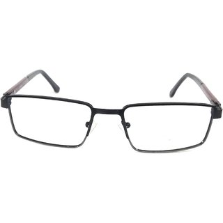 Amar Lifestyle Reading Glasses +1.00 Single Vision black rectangular metal full rim  Unisex  _na7ko4da5117