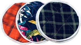 SHOP BY ROOM Cotton Roti cover/ Roti Napkin/Bread Bin - Set of 3 ( Multicolor)