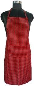 SHOP BY ROOM Cotton Checks Kitchen Apron with Front Pocket For Home and Restaurant - Pack of 1 - Red And Black