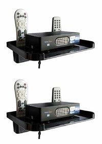 HK Black Plastic Set Top Box Stand - Pack of 2