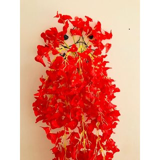 Cherry World Artificial Red Flowers and a Steel Stand for Indoor/Outdoor Flower Decorative Wall  with Steel Stand