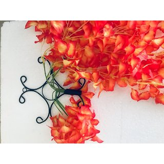 Cherry World Artificial Orange Flowers and a Steel Stand for Indoor/Outdoor Flower Decorative Wall  with Steel Stand
