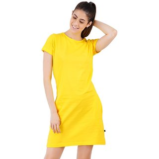 Stoovs, Cotton Women's  T-shirt Dress, Pineapple Yellow