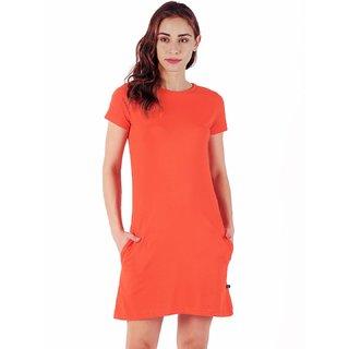 Stoovs, Cotton Women's  T-shirt Dress, Neon Orange