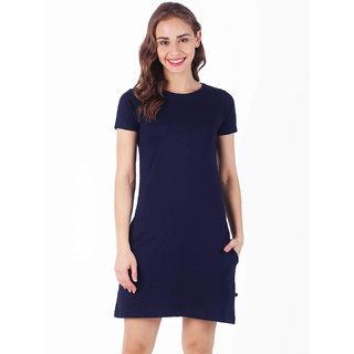 Stoovs, Cotton Women's  T-shirt Dress, Navy Blue