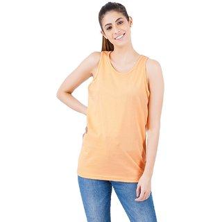 Stoovs, Women's Cotton T-Shirts, Peach Solid Women's Tank top