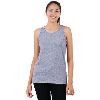 Stoovs, Women's Cotton T-Shirts, Melange Grey Solid Women's Tank top