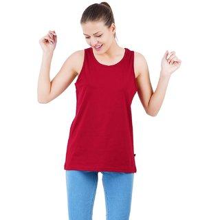 Stoovs Women Cotton T-Shirts, Marroon Plain Round Neck Tank Top