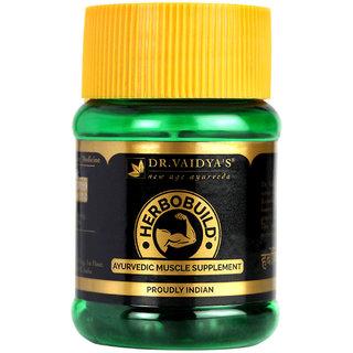 Dr. Vaidya's Herbobuild | Ayurvedic Capsules for Muscle Gain | 30 Capsules x Pack of 1