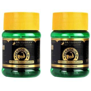 Dr. Vaidya's Herbobuild | Ayurvedic Capsules for Muscle Gain | 30 Capsules x 2 Bottles
