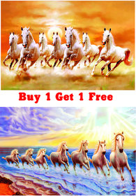Galaxy Vaastu White Seven Horse Running Vinyl buy 1 get 1 Wall Sticker (45cm x 1cm x 30cm)