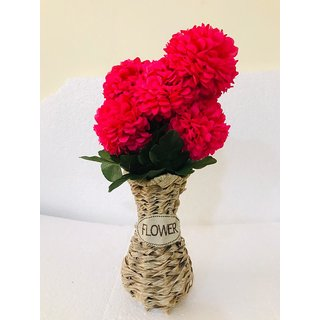 Cherry World Artificial Red Flowers with Wooden Pot and Decoration in Office, House, Hotel and for Gift Purposes.