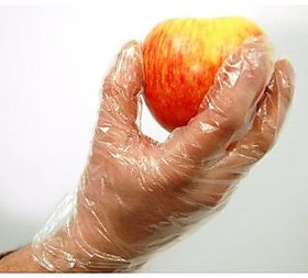 100 Disposable Transparent Clear Plastic Gloves for Kitchen, Clinic, Office (UNIVERSAL SIZE (FITS EITHER HAND))