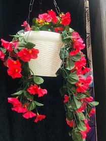 Cherry World Artificial  Pink Flower Hanging Basket for decorations Home, balcony, Restaurant, Office, Gifts