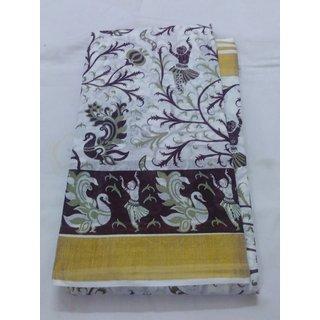White Summer Pure Cotton Summer Pure Cotton Saree Zari Border W/B KalamKari New Cotton Saree