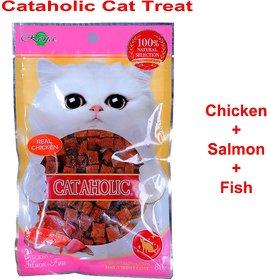 Cataholic Neko Cat Treat for Cats  Kittens Multi Flavor Combo Pack (Cube Chicken + Salmon + Fish, Single)
